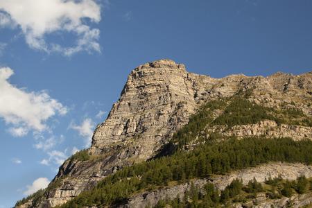 winter blues: Beautiful mountain rock in the blue sky
