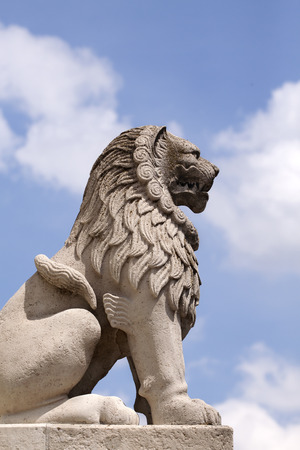 bastion: Beautiful lion statue in Budapest, Fishermans Bastion