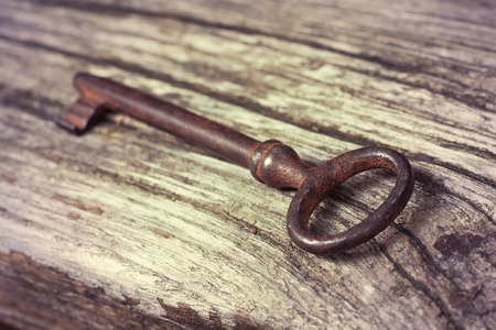 Old lost rusty key lying in the wood