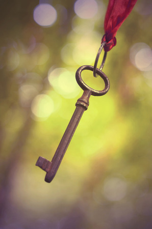 self realization: Success idea - a key hanging in the air on a natural background Stock Photo