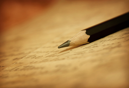 鉛筆手書きで古い手紙 写真素材 - 50506501