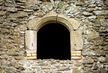 castle: Window of a beautiful old stone monastery ruin with copy space