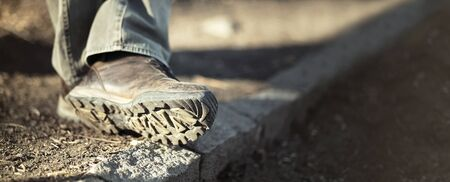 hiking shoes: Website banner - sole of male trekking  hiking shoes