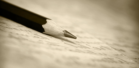 lyrical: Vintage website banner - old pencil on a letter in sepia tone Stock Photo