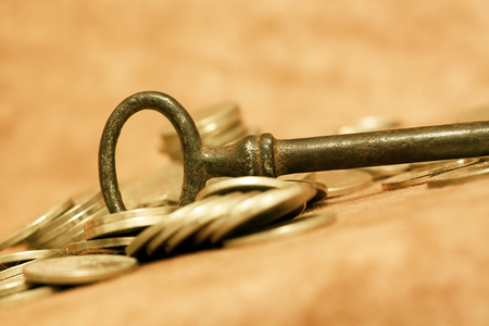 realization: Key money and coins - concept Self Realization
