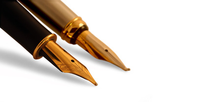 Isolated fountain pen on sheet of paper - website banner with copy space