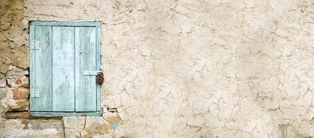 website window: Website banner of a blue wooden window with copy space Stock Photo