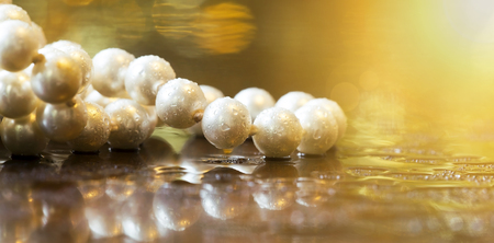 Website banner of beautiful white pearls
