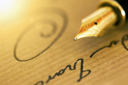 Fountain pen and signature - business banner background Stock Photo