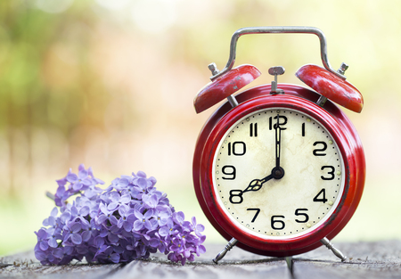 Retro red alarm clock and purple flower, daylight savings time, spring forward concept