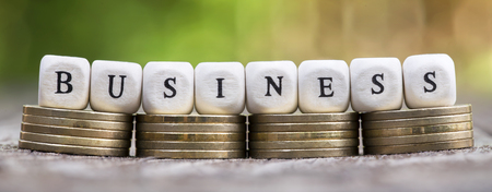 Web banner of business success concept, money coins with text letters on dices Stock fotó