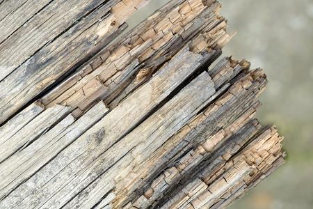 Textured rotten wood board, brown background 写真素材