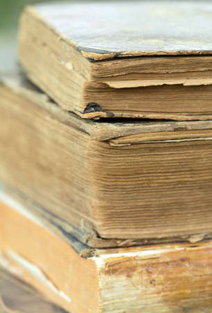 Vintage books, vertical close-up background, reading, wisdom concept 写真素材