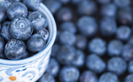 Nutritions, blueberries fruits, web banner with copy space, healthy eating concept, food background 写真素材