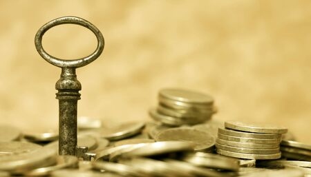 Financial planning, freedom concept - web banner of key and money coins