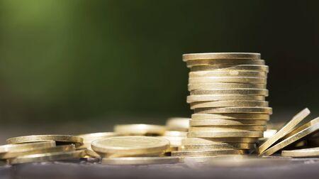 Stack of gold money coins, savings concept, web banner idea