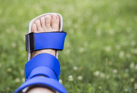 Foot ankle recovery, stabilizing with support brace
