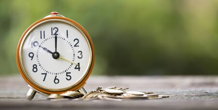 Web banner of save time concept, alarm clock with money coins