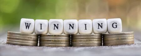 Winning, business success concept, web banner with letter cubes and money coins Stok Fotoğraf