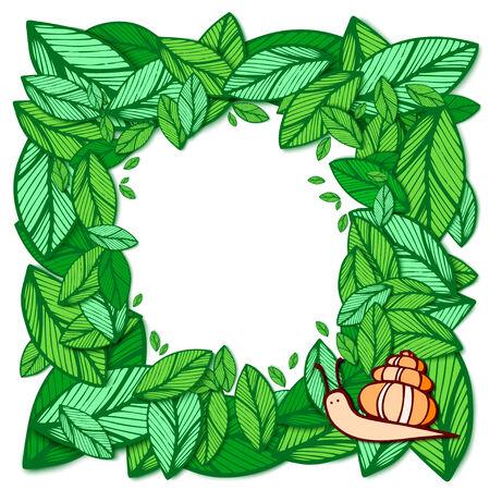 frame of green leaves and orange snails Vector
