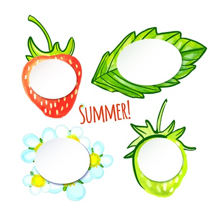 illustration  Set of four watercolor Stickers - strawberries, leaf and flower Vector
