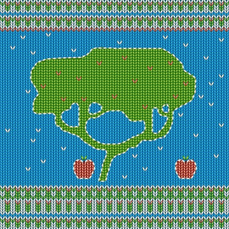 abstrakt: Seamless knitted background with tree and apples