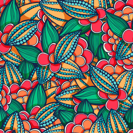 seamless doodle, floral pattern of leaves and flowers geen and orange Vector