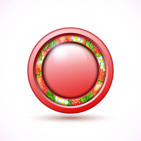3d red button with strawberry illustration Vector