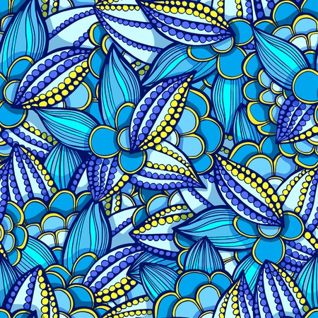 seamless doodle, floral pattern of leaves and flowersblue and yellow colors Vector