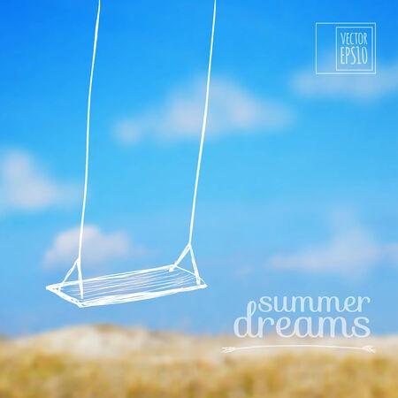 columpio: ilustraci�n Boceto de vacaciones de verano en las im�genes de fondo oscilar en un arco iris Vectores