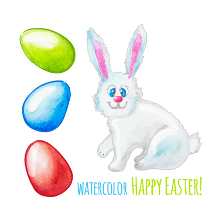 illustration  Set of watercolor decorative eggs and rabbit for Easter Vector