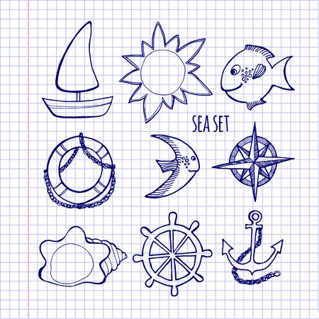 lifeline: illustration Sketch Set of sea elements, drawing on notebook sheet Illustration
