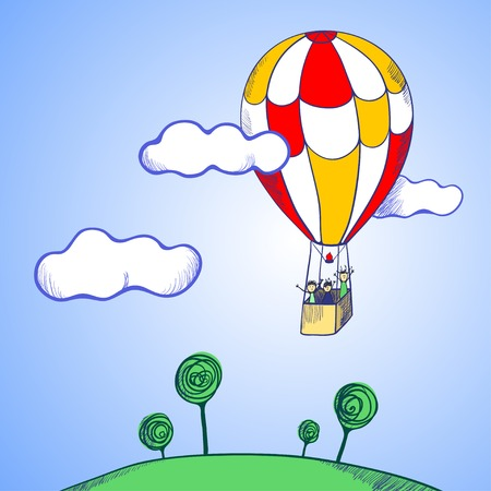 vector illustration. Figure balloon among the clouds in the sky, flying over the earth Vector