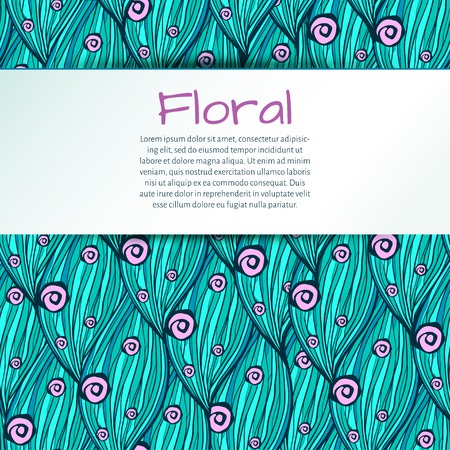 vector illustration. doodle floral pattern of leaves and flowers turquoise and pink  colors, with space for text Vector