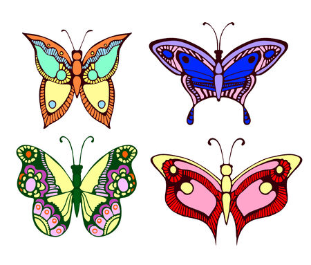 Vector illustration. Set of colorful butterflies isolated on white background Vector
