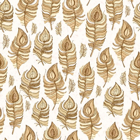 Beige seamless pattern of  feathers, texture spray Vector
