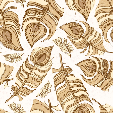 vector illustration. Beige seamless pattern of large feathers, texture spray Vector