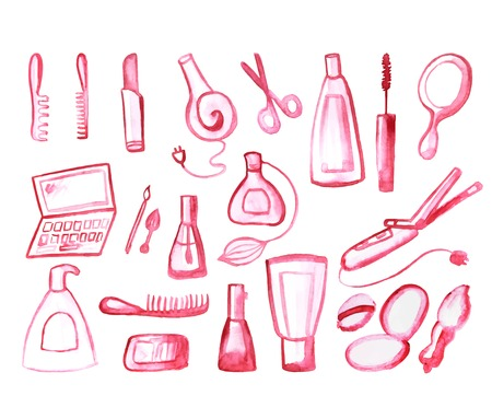 vector illustration. Watercolor set of cosmetic items, isolated on white background Illustration