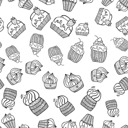 illustration Doodle Black and white seamless pattern of Cake Vector