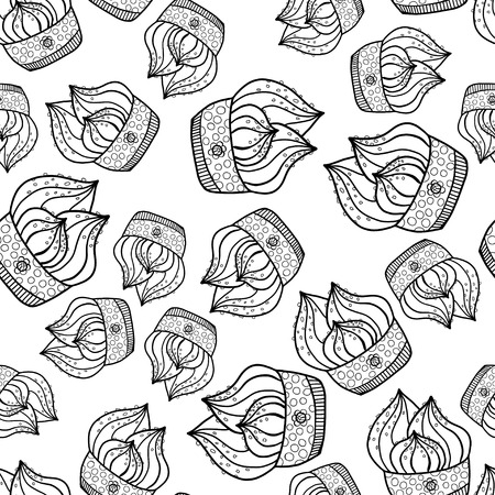 Black and white seamless pattern of Cake Vector