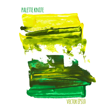 palette knife: Vector illustration. Set of colorful spot, painted with a palette knife, isolated on  white background. yellow-green