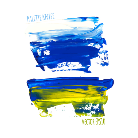 palette knife: Vector illustration. Set of colorful spot, painted with a palette knife, isolated on  white background. white-blue-yellow
