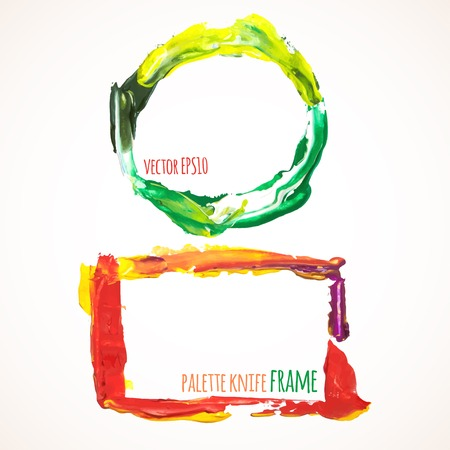 palette knife: Vector illustration. Set of colorful frames, painted with a palette knife Illustration