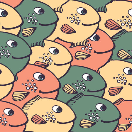 vector illustration. Children seamless pattern with big fish Vector