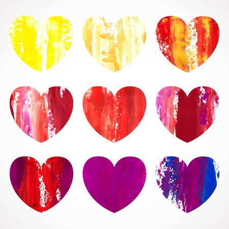 palette knife: Vector illustration. Set of colorful hearts painted with a palette knife, isolated on white background. Illustration