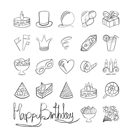 Vector illustration. Doodle. Icons on a theme birthday isolated on white background