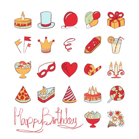 Vector illustration. Doodle. Colored icons on a theme birthday isolated on white background.