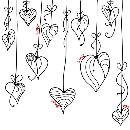 vector illustration. Black and white doodle card with hearts and garlands. Valentines Day Vectores