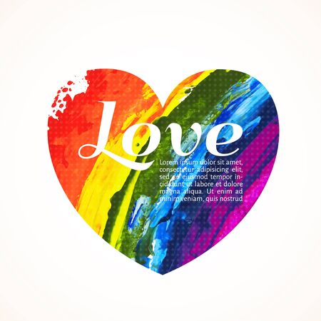 Vector illustration. Colorful heart painted with a palette knife, isolated on white background.