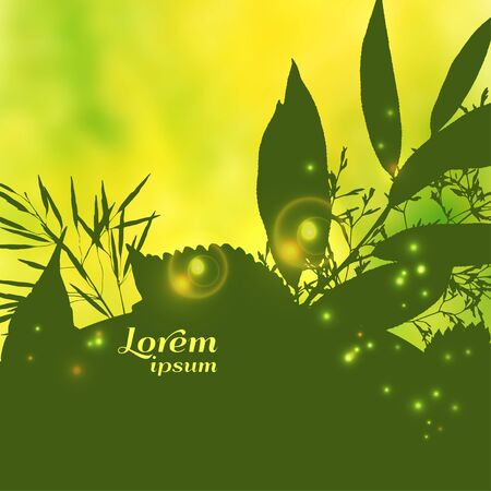 Vector illustration. Bright spring blurred background with element of grass and leaves